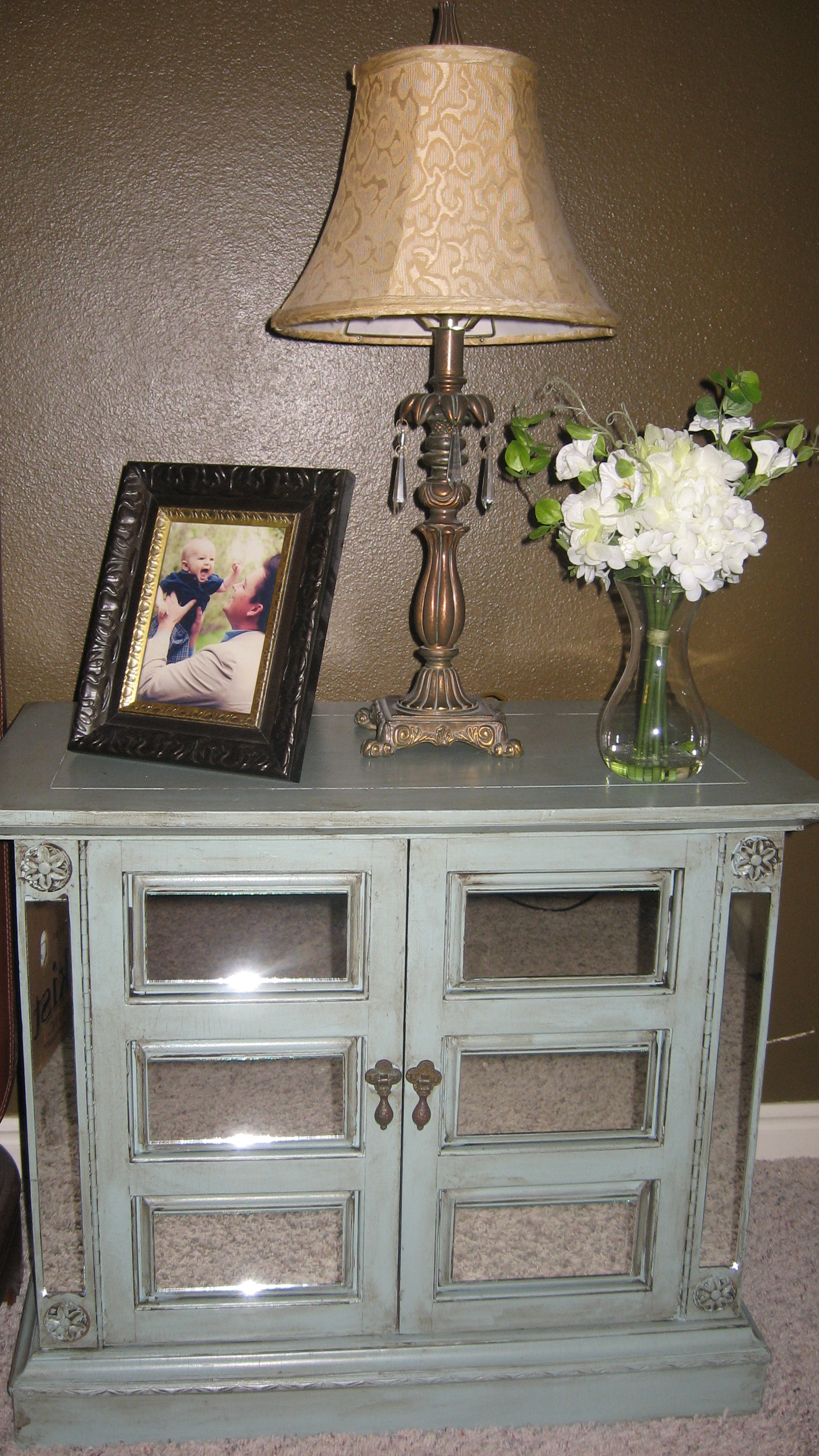 designed to the nines   make your own mirrored furniture! Make Your Own Bedside Table