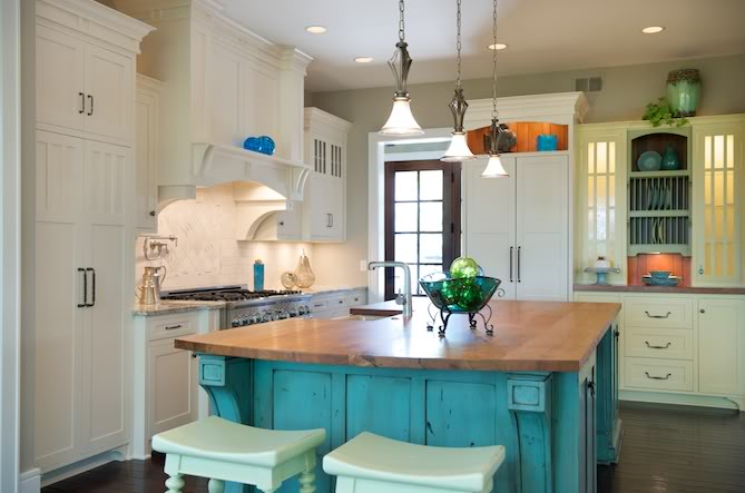 Kitchen Butcher Block Color : Designed To The Nines Trend Watch: Fresh Colors for Painted Cabinets