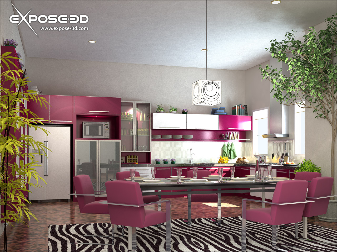Designed to the nines breast cancer awareness pink rooms for Kitchen decoration pink