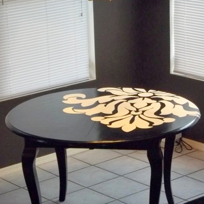 Designed to the nines dining table from dull to dramatic for Dining room table paint ideas
