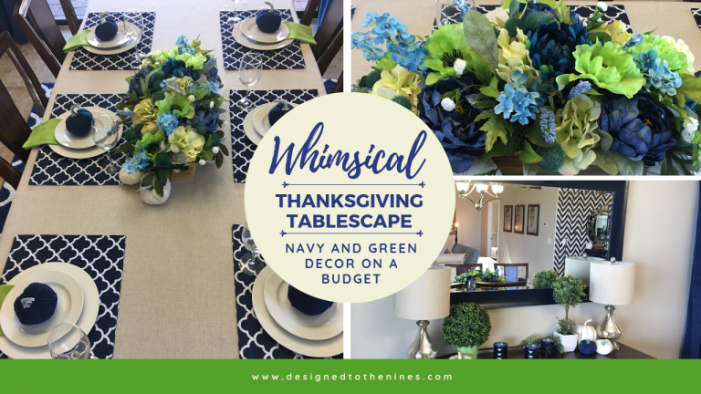 Whimsical Navy and Green Thanksgiving Tablescape