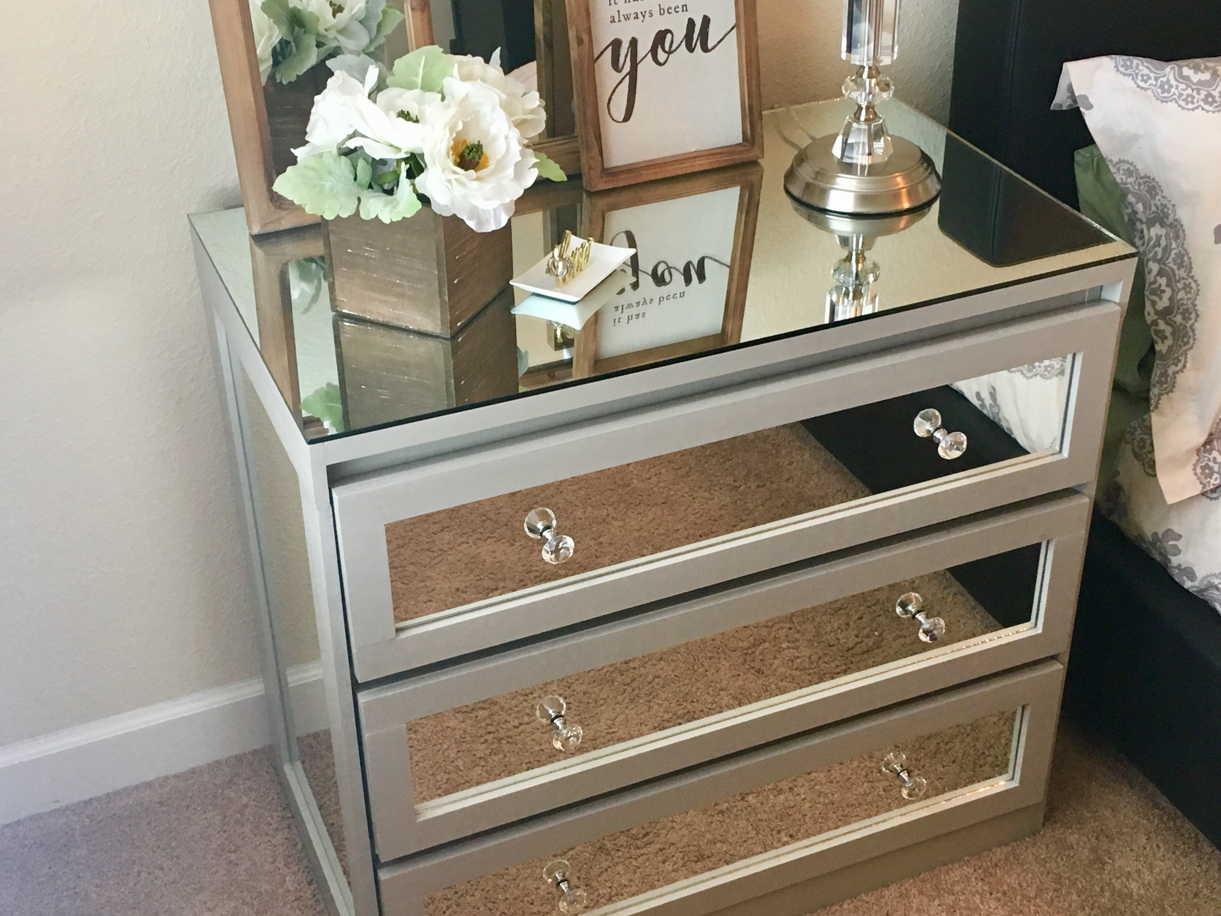 Designed To The Nines Ikea Dresser Transformed Into Glamorous Mirrored Nightstand